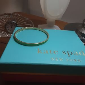 Thin Green Enamel and Gold tone Kate Spade Bangle